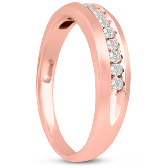 Men's 1/5ct Diamond Ring In 10K Rose Gold, G-H, I2-I3