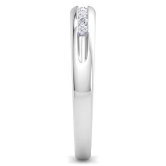 Men's 1/5ct Diamond Ring In 14K White Gold, I-J-K, I1-I2