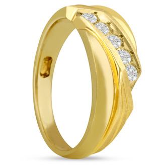 Men's 1/3ct Diamond Ring In 14K Yellow Gold, G-H, I2-I3