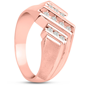 Men's 1/3ct Diamond Ring In 10K Rose Gold, G-H, I2-I3