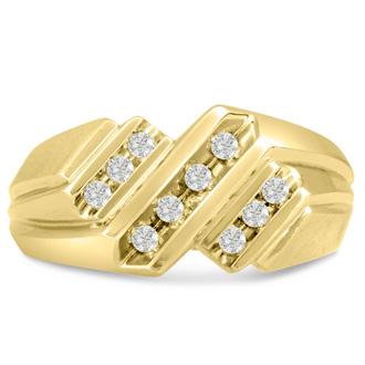 Men's 1/3ct Diamond Ring In 10K Yellow Gold, I-J-K, I1-I2