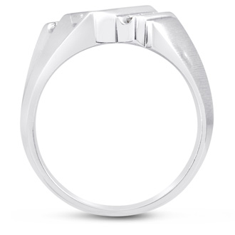Men's 1/3ct Diamond Ring In 14K White Gold, I-J-K, I1-I2
