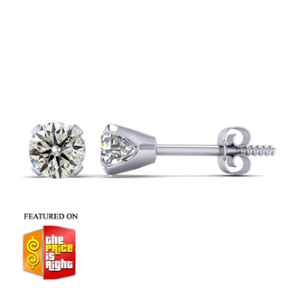 1 Carat Diamond Stud Earrings in 14K White Gold. Amazing Value.  She Will Love Them!