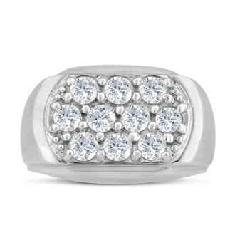 Men's 2ct Diamond Ring In 10K White Gold, G-H, I2-I3