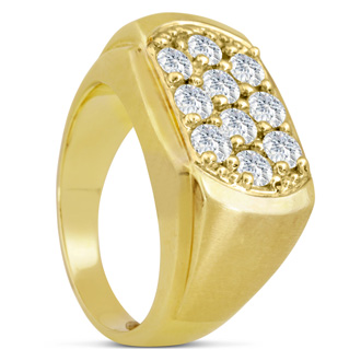 Men's 2ct Diamond Ring In 10K Yellow Gold, G-H, I2-I3