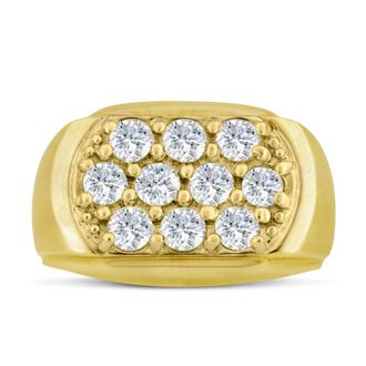 Men's 2ct Diamond Ring In 10K Yellow Gold, I-J-K, I1-I2