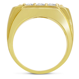 Men's 2ct Diamond Ring In 14K Yellow Gold, I-J-K, I1-I2