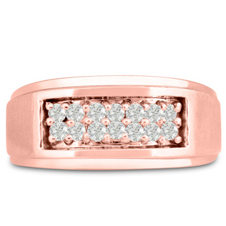 Men's 1/2ct Diamond Ring In 10K Rose Gold, G-H, I2-I3