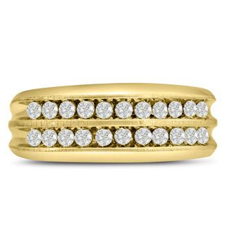 Men's 2/3ct Diamond Ring In 10K Yellow Gold, G-H, I2-I3