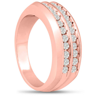 Men's 2/3ct Diamond Ring In 14K Rose Gold, I-J-K, I1-I2