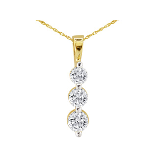 1/8ct Three Diamond Drop Style Diamond Pendant In 10k Yellow Gold