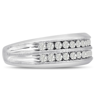 Men's 2/3ct Diamond Ring In 14K White Gold, I-J-K, I1-I2