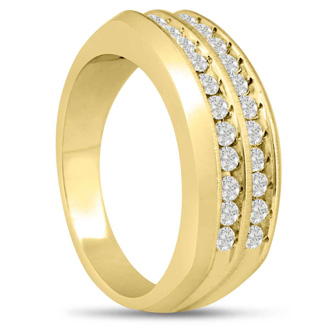 Men's 2/3ct Diamond Ring In 14K Yellow Gold, G-H, I2-I3
