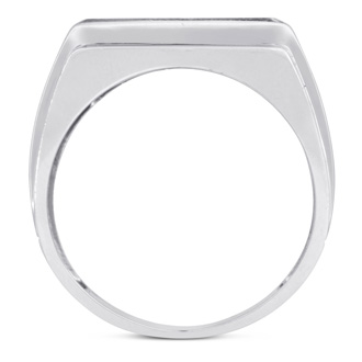 Men's 1ct Diamond Ring In 14K White Gold, I-J-K, I1-I2