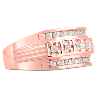 Men's 4/10ct Diamond Ring In 10K Rose Gold, I-J-K, I1-I2