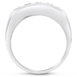 Men's 4/10ct Diamond Ring In 10K White Gold, G-H, I2-I3