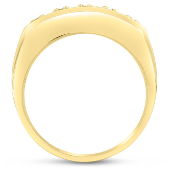 Men's 4/10ct Diamond Ring In 10K Yellow Gold, G-H, I2-I3