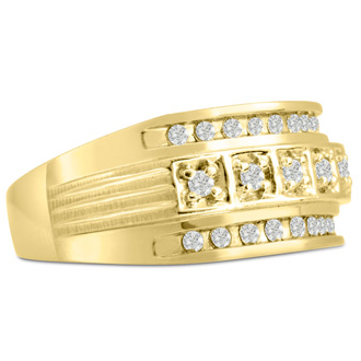 Men's 4/10ct Diamond Ring In 10K Yellow Gold, I-J-K, I1-I2