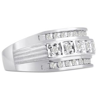 Men's 4/10ct Diamond Ring In 14K White Gold, I-J-K, I1-I2