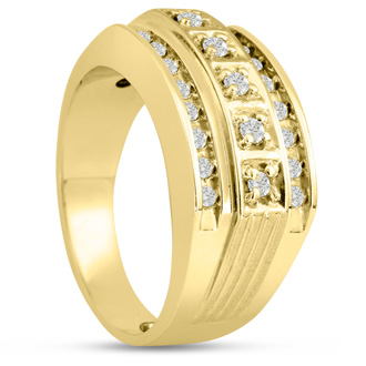 Men's 4/10ct Diamond Ring In 14K Yellow Gold, G-H, I2-I3