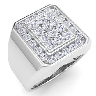 Men's 1ct Diamond Ring In 14K White Gold, G-H, I2-I3