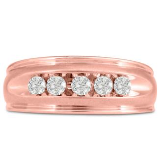 Men's 1/2ct Diamond Ring In 14K Rose Gold, G-H, I2-I3