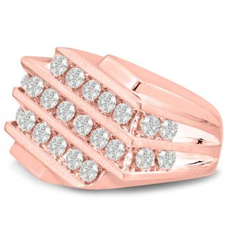 Men's 1 1/4ct Diamond Ring In 10K Rose Gold, I-J-K, I1-I2