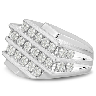 Men's 1 1/4ct Diamond Ring In 10K White Gold, I-J-K, I1-I2