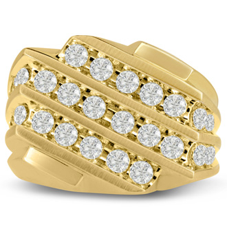 Men's 1 1/4ct Diamond Ring In 10K Yellow Gold, G-H, I2-I3