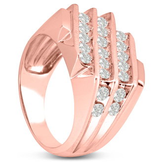 Men's 1 1/4ct Diamond Ring In 14K Rose Gold, I-J-K, I1-I2