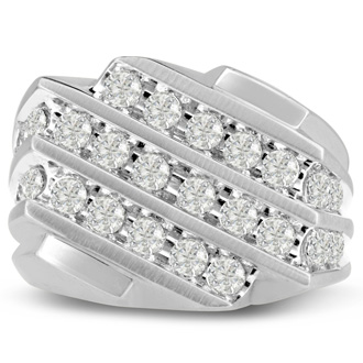Men's 1 1/4ct Diamond Ring In 14K White Gold, I-J-K, I1-I2