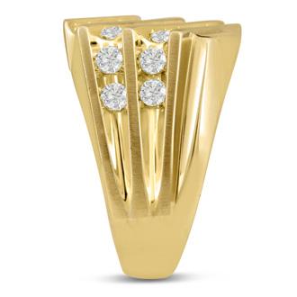 Men's 1 1/4ct Diamond Ring In 14K Yellow Gold, G-H, I2-I3