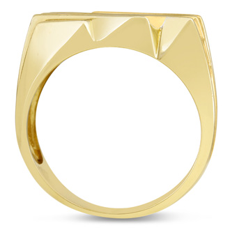 Men's 1 1/4ct Diamond Ring In 14K Yellow Gold, I-J-K, I1-I2