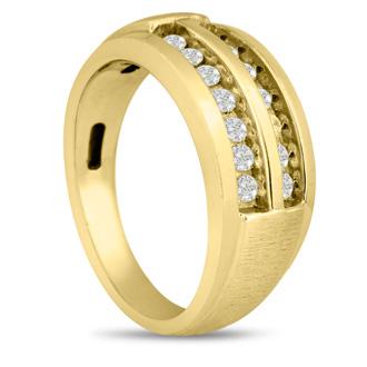 Men's 1/2ct Diamond Ring In 10K Yellow Gold, G-H, I2-I3