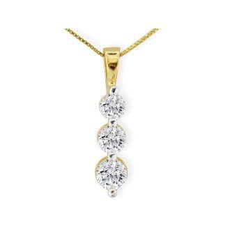 1/4ct Three Diamond Drop Style Diamond Pendant In 10k Yellow Gold