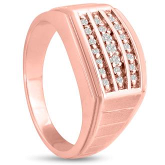 Men's 1/4ct Diamond Ring In 10K Rose Gold, I-J-K, I1-I2