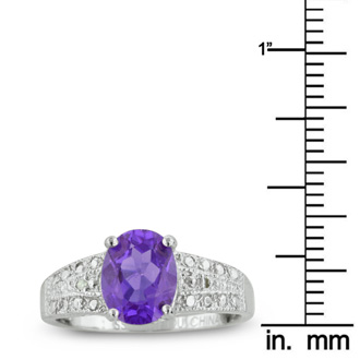 2 1/4ct Oval Shaped Amethyst And Diamond Ring In Sterling Silver