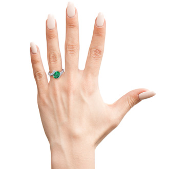 1 1/5ct Oval Emerald And Diamond Ring In 14 Karat White Gold