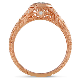 Antique 1/3ct Diamond Engagement Ring In 14 Karat Rose Gold