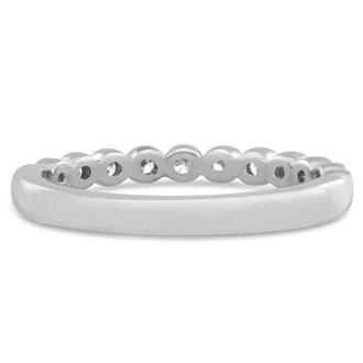 14 Karat White Gold 1/4 Carat Bezel Set Diamond Eternity Band, H-I I1-I2, Ring Sizes 4 to 9 1/2