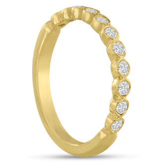 1/4ct Bezel Set Diamond Wedding Band In 14 Karat Yellow Gold