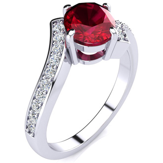1 1/5ct Oval Ruby And Diamond Ring In 14 Karat White Gold