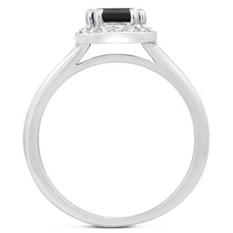 3/4 Carat Black and White Diamond Ring in 14 Karat White Gold