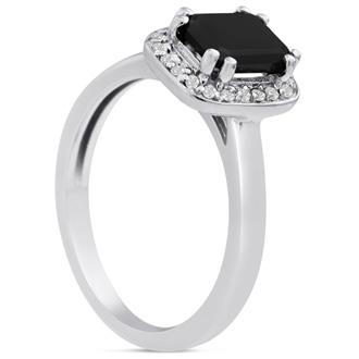 3/4 Carat Emerald Shape Black and White Diamond Ring in 14 Karat White Gold