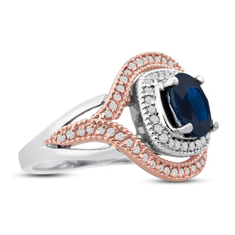 1ct Oval Shape Sapphire and Diamond Ring In 14 Karat White and Rose Gold
