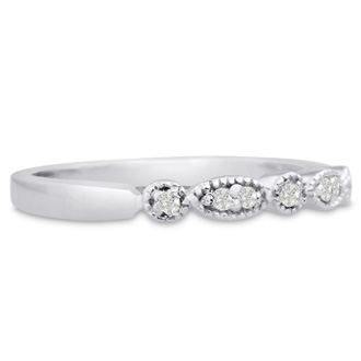 1/10ct Diamond Wedding Band In 14 Karat White Gold