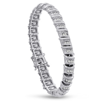 1ct Diamond Bracelet in Platinum Overlay