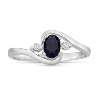 1/2ct Sapphire and Diamond Ring In 14 Karat White Gold