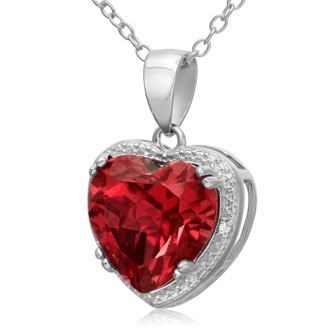 5 ½ Carat Created Ruby Heart Necklace. Amazing, Fiery, Brilliant, Huge!