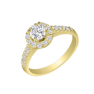 1 Carat Round Halo Diamond Engagement Ring in 18k Yellow Gold